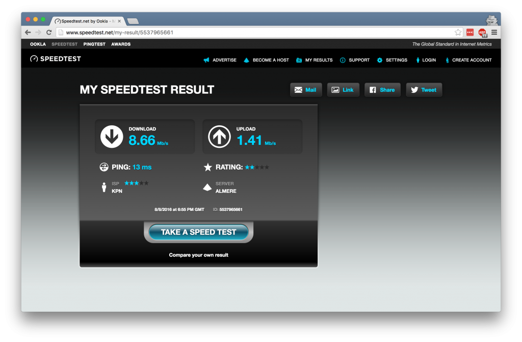 Speedtest.net resultaten